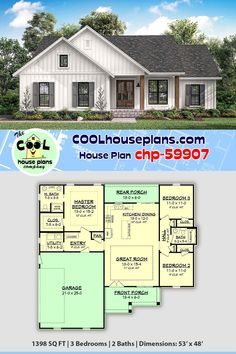 Small country house plan with 1398 sq ft. This three bed and two bath layout offers a one floor or 1 story house design on a slab or crawlspace foundation. The split bedroom design offers privacy for the master suite and the covered rear porch provides an Garage House Plans, House Plans One Story, Ranch House Plans, Craftsman House Plans, Best House Plans, Bedroom House Plans, Country House Plans, Dream House Plans, One Story Houses