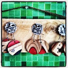 Recycled my skater sons skateboards into jewelry!!  repurpose, reuse, recycle xxx