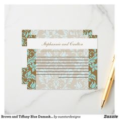 Brown and Tiffany Blue Damask Wedding Advice Card Wedding Advice Cards, Damask Wedding, Happy Marriage, Tiffany Blue, Special Day, Brown, Tiffany Blue Color, Chocolates, Brown Colors