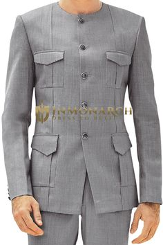 Without Collar Mens Gray nehru suit African Wear Styles For Men, African Shirts For Men, African Dresses Men, African Attire For Men, African Clothing For Men, Nigerian Men Fashion, Indian Men Fashion, Mens Fashion Suits, Mens Suits