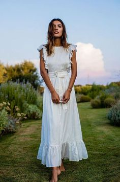 Pretty White Spring Dress with Ruffled Sleeves and Hemline