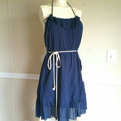 Halter Dress NWT! Knee length halter dress with ruffles, adjustable straps, elastic waistband. Navy color. Lined.  100% Cotton Lining: 100% Cotton Heritage 1981 Dresses Backless