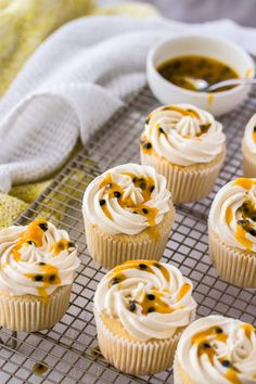 These Passionfruit Coconut Cupcakes start with an easy coconut cupcake recipe, thats filled with passionfruit curd and topped with coconut buttercream. Total tropical vibes. Fruit Cupcakes, Coconut Cupcakes, Baking Cupcakes, Cupcake Recipes, Cheesecake Cupcakes, Mini Cupcakes, Cupcake Cupcake, Kumquat Recipes, Passionfruit Recipes