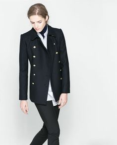 ZARA - WOMAN - SHORT COAT WITH METALLIC BUTTON