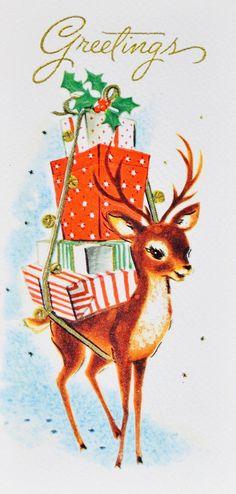 Vintage Reindeer. Vintage Christmas Card. Retro Christmas Card.