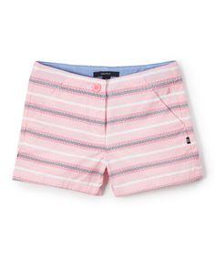 Light Pink Stripe Yarn-Dye Woven Shorts - Girls