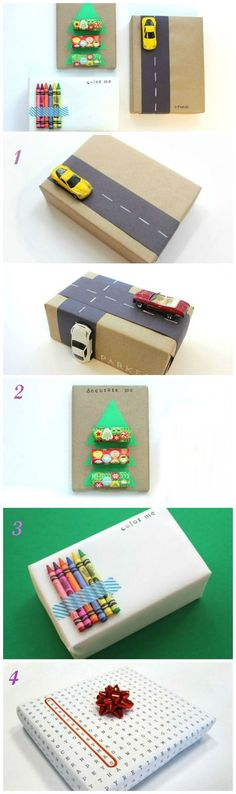 Usually, kids probably prefer you to wrap their presents in wrapping paper with their favorite TV character on it. Here are a few fun interactive gift wrapping ideas, ways to make the outside of your gift almost as entertaining as the inside. Wrapping Ideas, Creative Gift Wrapping, Creative Gifts, Wrapping Presents, Wrapping Paper Crafts, Wrapping Papers, Christmas Gift Wrapping, Diy Christmas Gifts, Holiday Gifts