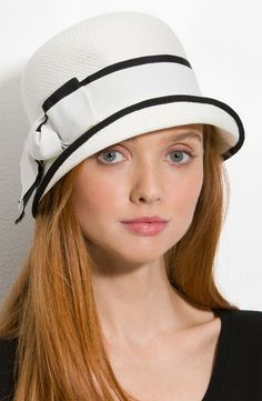 Glint Double Band Cloche in White (ivory black)Hat Fancy Hats, Cute Hats, Idda Van Munster, Church Hats, Wearing A Hat, Love Hat, Turbans, Hat Hairstyles, Mode Vintage