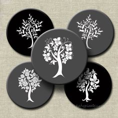 Black Gray Fancy Trees 2 inch Circles Printable Digital Collage Sheet - Buy 3 Get 1 Free