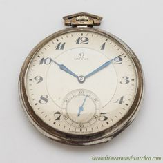 1933 Vintage Omega Silver Art Deco Case Pocket Watch with Original Two Tone Light Gray and Silver Dial with Black Breguet Arabic Numbers. Triple Signed. Case Very Good Case Original, Original Bezel, O