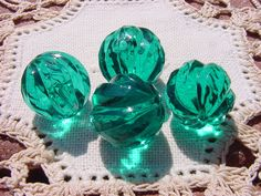 Emerald Teal Swirls Vintage Lucite Beads by vintagebeadnut on Etsy, $3.00
