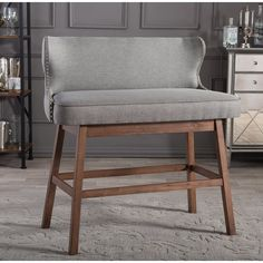Gradisca Modern and Contemporary Fabric Button Tufted Upholstered Bar Bench Banquette - Light Beige - Baxton Studio Counter Height Bench, Bar Bench, Bar Counter, Counter Stools, Dining Room Bar, Dining Bench, Kitchen Island With Bench Seating, Dining Decor, Dining Chairs