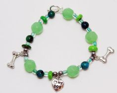 Dog Lover Blue Green Bead Dog Charm Stretch by ThisPugLife on Etsy, $10.00