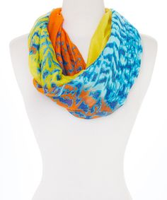 Loving this Orange & Blue Watercolor Infinity Scarf on #zulily! #zulilyfinds