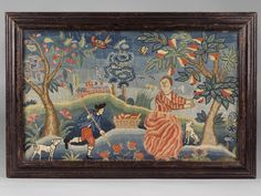 Textiles (Needlework) - Needlework picture (Canvaswork picture) - Search the Collection - Winterthur Museum New York Museums, Museum Collection, American Art, Art Museum, Fiber Art, Needlepoint, Folk Art, Needlework, Art Projects