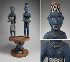 Throne of Njouteu: Royal Couple, late century. Bamileke peoples, Chiefdom of Bansoa. Simply Beautiful, Glass Beads, Art Pieces, Sculpture, Couple, Wood, African, Woodwind Instrument, Artworks
