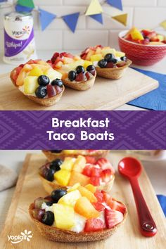 Tacos for breakfast? You know it! Breakfast Taco Boats with Yoplait Vanilla Whips and fresh fruit are so fun. To Make: Start with mini taco boats from @oldelpaso, sprinkled with cinnamon sugar and baked for 6-9 mins. Once cooled, top with Yoplait Vanilla Whips and fresh fruit. See the link for Mini Churro Boats for inspiration :)