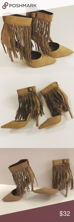 Fringe Tan Heels Fantastic heels with sexy ankle straps with fringe hanging. These sexy shoes will make any outfit fabulously chic. Suede like material with 5 inch heels. Evolving Always Shoes Heels