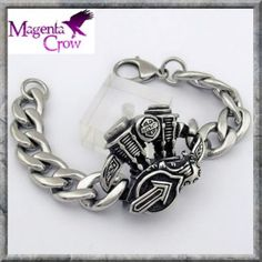 Motorcycle V Twin Engine Biker Bracelet Stainless Steel. FREE UK DELIVERY! A VERY chunky curb Biker bracelet featuring a V Twin motorcycle engine. Size; L 220mm x Chain Width 14mm x chain thickness 3.5mm x engine width 40mm x  hight 35mm x thickness 10mm approx.