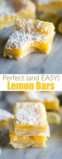Perfect Lemon Bars My favorite EASY Lemon Bars recipe is made with a buttery shortbread crust and creamy lemon filling. - My favorite EASY Lemon Bars recipe is made with a buttery shortbread crust and creamy lemon filling. Köstliche Desserts, Delicious Desserts, Jello Deserts, Custard Desserts, Food Deserts, Small Desserts, Calories, Dessert Bars, Clean Eating Snacks