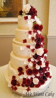 Classy Red and White Cake with Roses