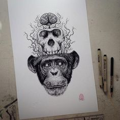obsessedwithskulls:  Yeah these are pretty cool…http://www.designer-daily.com/drawings-of-skulls-coming-out-of-the-skin-by-paul-jackson-53688