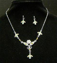 Premier Designs Anastasia Necklace Earring Set Silvertone Green Rhinestone | eBay