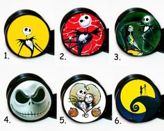 Pair 6 Different Nightmare Before Christmas ear gauges tunnels screw backs plugs in Body Piercing Jewelry | eBay