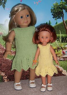 This lovely little lace dress is quick to knit for the dolls using DK weight yarn and size 6