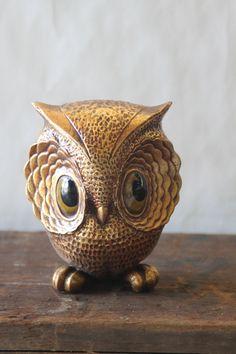 Vintage Owl Figurine 1970's Ceramic Owl. $12.50, via Etsy.