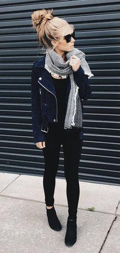 summer outfits Black Leather Jacket + Black Skinny Jeans
