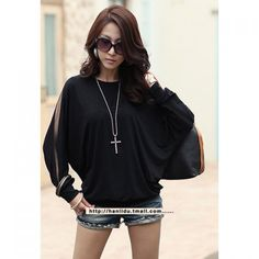 $9.33 Loose-Fitting Round Collar Voile Splicing Batwing Sleeve Women's T-Shirt