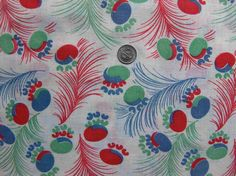 Vintage Feedsack Fabric RED BLUE GREEN Feathers by NauvooQuiltCo, $5.00