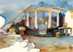 Hollyhock Sanctuary Construction - Watercolour Essay on Behance