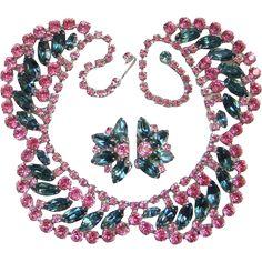 Vintage Bright Pink Light Teal Blue Rhinestone Choker Necklace Clip Earrings Set Demi Parure