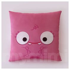 12 x 12 Pink Monster Pillow Children's Decorative Pillow by mymimi, $21.00
