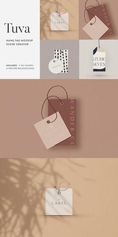 Tuva Hang Tag Mockup Scene Creator - Product Mockups - Ideas of Product Mockups - Graphic Design Branding, Stationery Design, Hangtag Design, Brand Identity Design, Corporate Design, Label Design, Brochure Design, Design Design, Mock Up