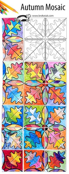 Fall arts & crafts for kids: Autumn Mosaic Fall Art Projects, School Art Projects, Collaborative Art Projects For Kids, Art Education Projects, Middle School Art, Art School, School Craft, Classe D'art, 3rd Grade Art