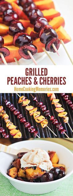 Grilled Peaches and Cherries on a Skewer! Serve them as-is for an easy summer side dish OR combine with the cinnamon-honey syrup for a delightful ice cream topping!