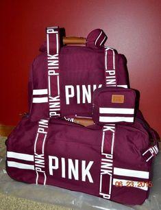 Victorias Secret Pink Varsity Burgandy 3 Pc Wheelie Duffel Bag Luggage Set  NWT in Home d6c478af07d05