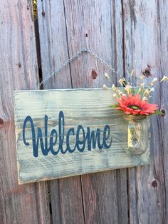 Rustic Outdoor Welcome Sign in blue/white Wood by RedRoanSigns