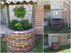 Upcycled old car tyres stacked and painted to look like a wishing well. Looks great as a planter - at first glance you just can't tell.