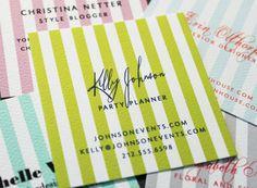 one-sided stripe calling cards set (50). $25.00, via Etsy.