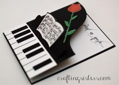 Just a Note Music Card by craftingsisters - Cards and Paper Crafts at Splitcoaststampers Pop Up Cards, Cute Cards, Diy Cards, Your Cards, Musical Cards, Piano, Shaped Cards, Folded Cards, Creative Cards