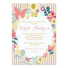 """Butterfly Floral Pink Baby Shower Girl invitation 5"""" X 7"""" Invitation Card"""