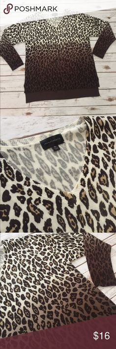 Leopard Ombre Lightweight Sweater, Size XL Lightweight, slight hi-lo hemline, new without tags.  Runs true to size. Investments Sweaters V-Necks
