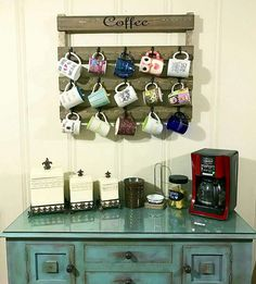 Home decor, Coffee cup rack, Kitchen decor, coffee cup holder, farmhouse, coffee wall art, coffee cup display, gift for her, wood shelf by HisHersWoodworking on Etsy https://www.etsy.com/listing/479354354/home-decor-coffee-cup-rack-kitchen-decor  Dark Walnut/Cream colored words