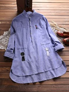 3903e93494 Casual Embroidery Cat Ruffle Pokcet Long Sleeve Shirt for Women can cover  your body well