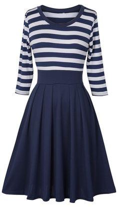 Holiday Gathering Stripe Waisted Dress