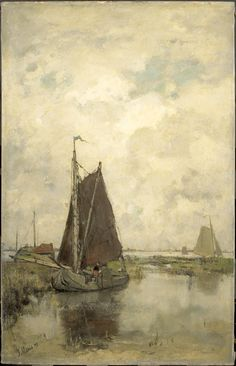 Jacob MARIS (Dutch painter, Grey day with Ships (Grauwe dag met schepen), 1877 Fantasy Paintings, Seascape Paintings, Weather Art, Z Arts, Dutch Painters, Dutch Artists, Art Reproductions, Art Google, Unique Art